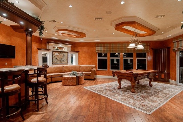 A room filled with furniture and a wood floor